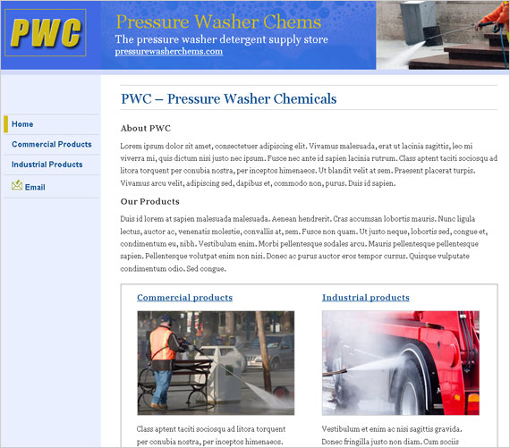 Web design project - Pressure Washer Chems